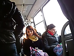 Chick staring at my cock in the bus