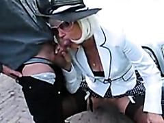 Classy blonde milf sucking dick