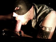 MAN SMOKE ARCHIVE - HORNY HOODED LEATHER PIG SUCKS SMOKIN HUSTLER COCK