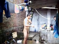 NAKED FRIEND WASHING OUTSIDE