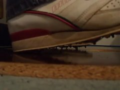Low spikes on sports shoes worn by 16st plus guy