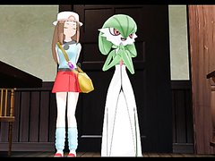 Gardevoir And Trainer wait in line two pee