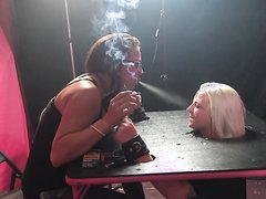 Quebec - Blond face spitting and ash humiliation