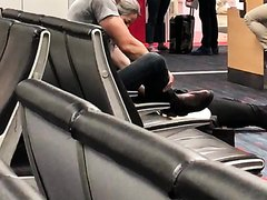 Cowboy Takes Off Boots and Socks in Airport - See's me Looking