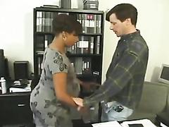 Pregnant ebony secretary fucked by a horny boss