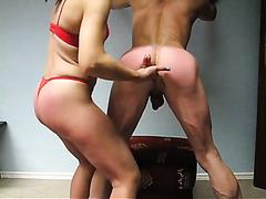 Milf fingers her man's asshole