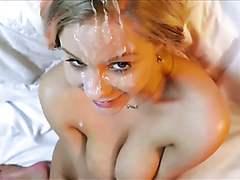 Beautiful girl showered with cum