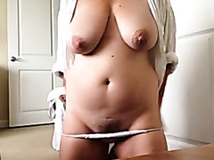 Mature BBW rubs her pussy
