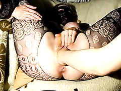 Masked wife fisted to an orgasm