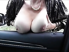 Busty mature brunette drilled in the car
