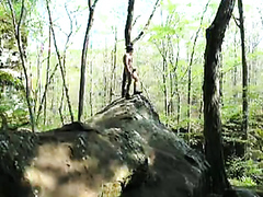 Jerking outdoors naked