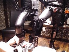Two Hunky, Leather Master Lovers Boot-Fuck their Cuckold slave