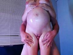 Hot blonde pregnant legs cumshot_480p
