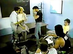 Blonde teacher gets gangbanged in class