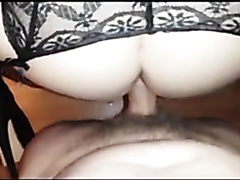 Lusty bimbo squirts hard while being banged anally