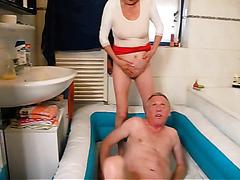 Naughty old slut sucks and rides her man's throbbing dick