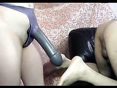 Kinky bitch bangs her horny man with a giant strap-on