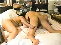 Two mature mommies enjoy sharing a throbbing penis