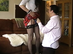 Naughty cross-dresser has his massive shaft sucked on by a horny stud
