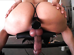Huge dick shemale stuffs her asshole