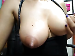 Busty chick sucks her own nipples
