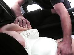Public masturbating milf gets some help