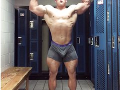 Bodybuilder with bulge flexing