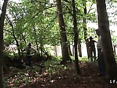 French gang bang in the woods
