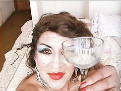 transvestite hooker swallows his own sperm