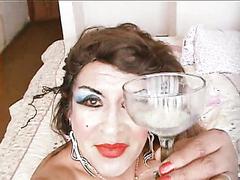 transvestite hooker swallows his own sperm