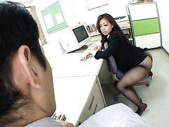 Kinky Asian office slut enjoys pleasuring a stiff member