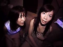 Two Japanese prostitutes enjoy swapping cum from multiple dicks
