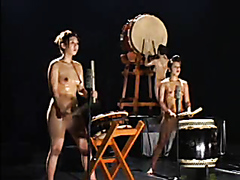 Six gorgeous girls play drums completely naked