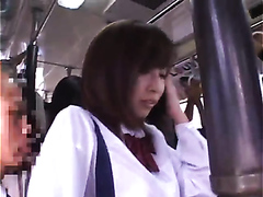 Asian babe drilled and jizzed in the bus