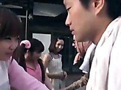 Sweet-looking Japanese girls stuffed in a wild orgy with older men