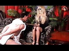 Blonde mistress humiliates her scat slave