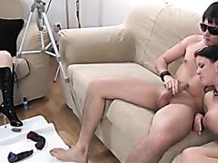 Girl masturbates while her boyfriend fucks a slut