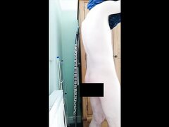 Bathroom towel censored fail exposed