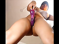 Massive pink dildo for a curvaceous busty playgirl