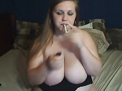 Lusty BBW smokes and spreads her dripping wet pink slit