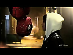 Attractive girl enjoys sucking hard on a SpiderMan's cock