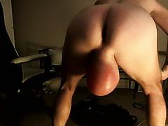 Horny stud enjoys showing off his massive ballsack