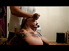 Naughty wifey deepthroats a dildo and a thick cock