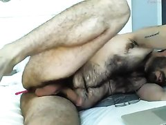 Hairy bear daddy with vibrator