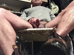 Uncut piss pig soaking his boots