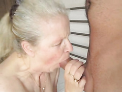 Naughty granny sucks a cock and has her cunt slammed hard
