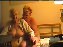Grandson enjoys groping a grandmother's big saggy breasts