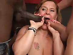 Chubby mature wife sucks and rides on two throbbing cocks