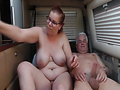 Kinky mature couple has some naughty fun in a camper trailer