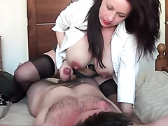 Curvaceous raven-haired stunner makes a fat dick explode on her large tits